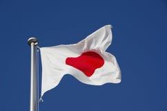 在旗杆的日本标志 免版税库存照片