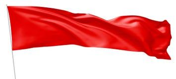 在旗杆飞行的长的红旗在风 图库摄影