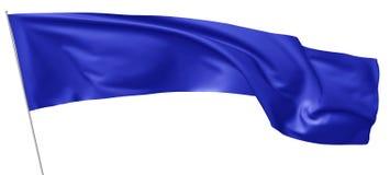 在旗杆飞行的长的蓝旗信号在风 库存图片