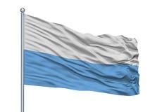 在旗杆,哥伦比亚,安蒂奥基亚省的圣胡安De Uraba City旗子,隔绝在白色背景 库存例证