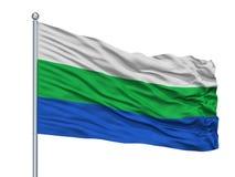 在旗杆,哥伦比亚, Caqueta部门的卡塔赫钠台尔Chaira City旗子,隔绝在白色背景 向量例证