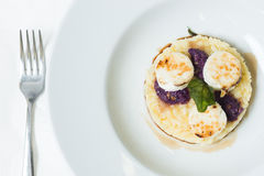 在无盐干酪乳酪的焦糖用意大利煨饭 免版税库存照片