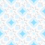在无缝平的蓝色的装饰品的白色雪花 库存例证