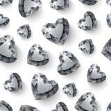 在无缝白色的背景的发光的金刚石心脏 库存图片