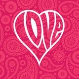 在无缝的佩兹利背景的爱心脏 图库摄影
