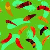 在无缝的动画片样式的羽毛 库存照片