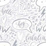 在无缝的样式上写字的书法手 正号,星,心脏,讲话起泡,几何形式 完善为 库存图片