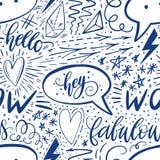 在无缝的样式上写字的书法手 正号,星,心脏,讲话起泡,几何形式 完善为 免版税库存图片