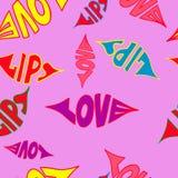 在无缝的样式上写字的爱嘴唇 也corel凹道例证向量 重点 库存图片