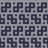 在无言蓝色颜色的编织的几何无缝的样式 库存图片