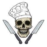 在无边女帽的头骨与刀子 动画片头骨 库存照片