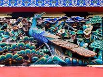 在日光Tosho顾寺庙的被雕刻的木鸟,日本 免版税库存图片