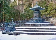 在日光Toshogu寺庙的古铜色缸 免版税库存图片