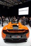 在日内瓦汽车展示会的迈凯轮650S蜘蛛 免版税库存照片