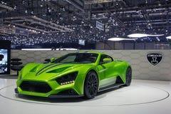 在日内瓦汽车展示会的绿色ZENVO ST1汽车 免版税库存图片
