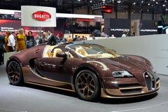 在日内瓦汽车展示会的Bugatti Veyron  免版税库存照片