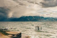 在日内瓦湖的以后的风暴 库存照片