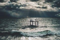 在日内瓦湖的以后的风暴 库存图片