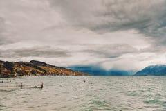 在日内瓦湖的以后的风暴 免版税库存图片