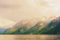 在日内瓦湖的日落 免版税库存图片