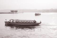 在日内瓦湖的海鸥小船 免版税库存照片