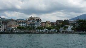 在日内瓦湖的轮渡旅行 股票视频