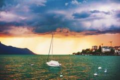 在日内瓦湖的风暴 库存照片
