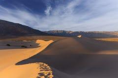 在日出光的沙丘 库存图片