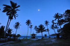 在日出前的月亮 库存图片