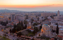 在日出前的耶路撒冷 库存照片