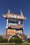 在日出在拉斯维加斯, 2013年4月19日的NV的Excalibur大门罩 免版税库存图片