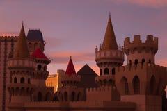 在日出时间的石中剑酒店在拉斯维加斯,内华达 图库摄影