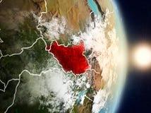 在日出期间的南苏丹 免版税库存图片