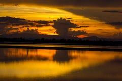 在日出期间的稻田美丽的景色  免版税库存照片
