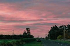 在日出期间的风景在新西兰 免版税库存照片