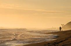 在日出期间,一位年轻冲浪者去与他的在海滩的狗 免版税库存图片