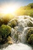 在日出瀑布 库存照片