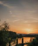 在日出的云彩风景 免版税库存图片