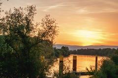 在日出的云彩风景 图库摄影