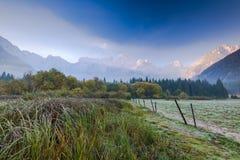 在日出的冷的atumn早晨与朱利安阿尔卑斯山在背景中 库存图片