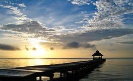 在日出的加勒比 免版税库存照片