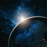 在日出的地球 美国航空航天局装备的这个图象的元素 免版税库存照片