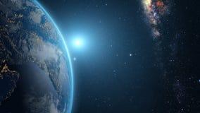 在日出的地球 免版税库存图片