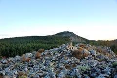 在日出的小山 免版税图库摄影