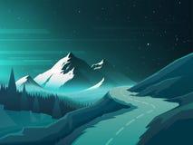 在日出的山风景 库存照片