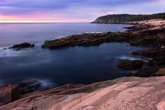在日出的峭壁水獭 免版税库存图片