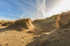 在日出的沙丘风景 库存照片