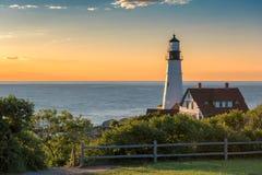在日出的波特兰灯塔,缅因,美国 库存照片