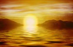 在日出的海洋桔子 库存图片