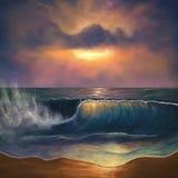 在日出的海浪 库存照片